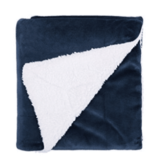 "Bedsure Sherpa Blanket Throw Blankets Bed Blankets, Soft Cozy and Warm(Reversible/Textured/Fuzzy), Sherpa Throw Blankets 60"" x 80"" Navy Blue"