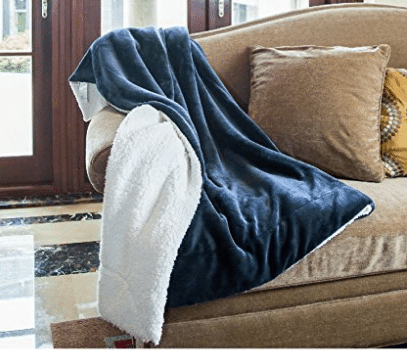 "Bedsure Sherpa Blanket Throw Blankets Bed Blankets, Soft Cozy and Warm(Reversible/Textured/Fuzzy), 60"" x 80"" Navy Blue, Sherpa Throw Blankets"