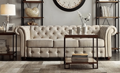 Classic Scroll Arm Button Tufted Chesterfield Style Beige Sofa Includes ModHaus Living