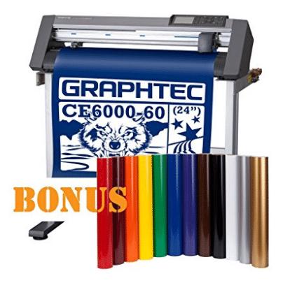 "Graphtec 24"" CE6000 Desktop Vinyl Cutter Plotter with Bonus 12 vinyl rolls in popular colors"