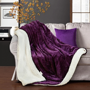 "Merous Sherpa Blanket Reversible Fuzzy Luxury Microfiber Super Soft Cozy All Season Blanket for Bed or Couch Purple Twin Sherpa Throw Blankets 90"" X 66"""