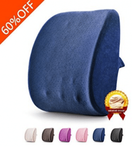 Lumbar Pillow 3D Breathable Memory Foam Back Support Massage Granules Pillow Lumbar Support Pillow Cushion Pillow for Car Office Chair and Travel Pillow for Back Pain and Sciatica (Jazz Blue)