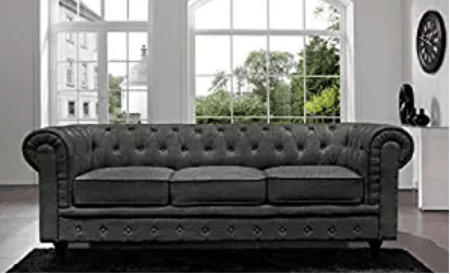 BD Home Furnishings Classic Scroll Arm Button Tufted Chesterfield Style Sofa