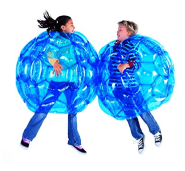 HearthSong Set of 2 Blue BBOP Buddy Bumper Ball Inflatable Blow Up Giant Wearable Body Bubble Zorb Soccer Suit Heavy Duty Durable