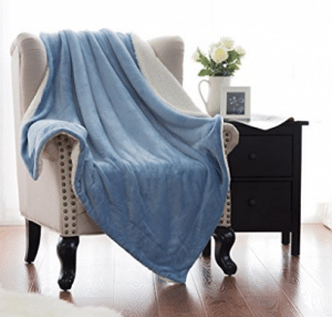 Sherpa Throw Blanket Washed Blue 60x80 Reversible Fuzzy Microfiber All Season Blanket for Bed or Couch by Bedsure, Sherpa Throw Blankets