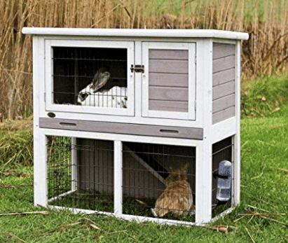 Rabbit Hutch with Sloped Roof (M), Gray/White