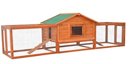 "Pawhut 122"" Wooden Rabbit Hutch w/ 2 Runs - Best Chicken Coops"