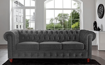 Divano Roma Furniture Velvet Scroll Arm Tufted Button Chesterfield Style Sofa