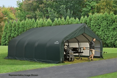 ShelterLogic Peak Style Garage/Storage Shelter - Green, 28ft.L x 18ft.W x 10f