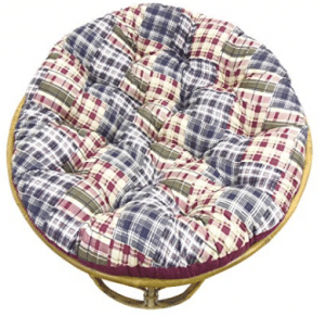 Cotton Craft Papasan Chair Cushion (unfilled shell only) - Madras Plaid Blue Green Multi, 100% Cotton duck fabric