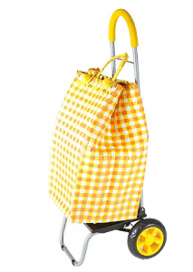 Trolley Dolly Basket Weave Tote, Yellow Shopping Grocery Foldable Cart Picnic Beach