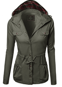 Awesome21 Women's Hooded Drawstring Military Jacket Parka Coat Outerwear