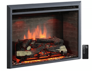 PuraFlame Western 33 inch Embedded Electric Firebox Heater With Remote Control, Fireplace Inserts