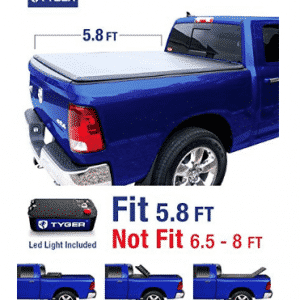 Tyger Auto TG-BC3D1015 Tri-Fold Tonneau Bed Cover Fits 2009-2019 Dodge Ram 1500 5.8' Short Box