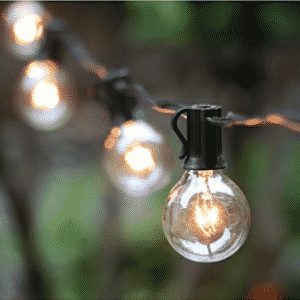 25Ft G40 Globe String Lights with Clear Bulbs, UL listed Backyard Patio Lights - LED Christmas lights