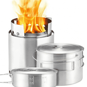 Solo Stove Campfire & 2 Pot Set Combo: 4+ Person Wood Burning Camping Stove