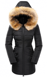 Valuker Women's Down Coat With Fur Hood With 90% Down Parka Puffer Jacket