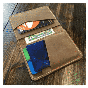 Handmade Distressed Leather Minimalist Bifold Wallet