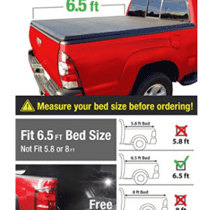 Premium TCD371011 Tri-Fold Tonneau Bed Cover Fits 2002-2018, Truck Bed Covers