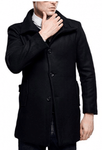 SSLR Men's British Single Breasted Slim Wool Coat