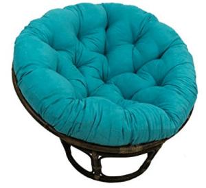 "Blazing Needles Solid Microsuede Papasan Chair Cushion, 44"" x 6"" x 44"", Aqua Blue"
