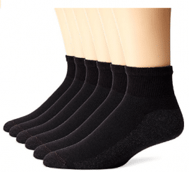 Hanes Men's 6 Pack Ankle Socks, Men's Ankle Socks (Size 6-12/Black)