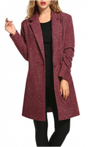 Zeagoo Women Lapel Long Trench Coat Wool Blended Jacket Cardigan