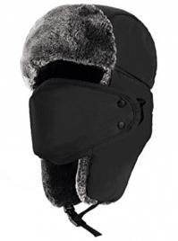 Mysuntown Unisex Winter Trooper Trapper Hat Hunting Hat Ushanka Ear Flap Chin Strap with Windproof Mask - Winter Face Masks