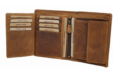 Hill Burry Wallet For Men Bifold ID Card Holder Genuine Leather Handmade Vintage With Coin Pocket Madrid