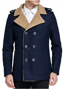 SSLR Men's Classic Double Breasted Slim Wool Coat