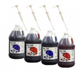 Blue Raspberry, Cherry, Grape, Strawberry Snow Cone & Shave Ice Syrup-4/1 Gallons W/pumps