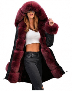 Aofur Women Winter Trench Jacket Parka Long Fur Collar Casual Hooded Coat Plus Size S-XXXL, Parka Jacket for Women