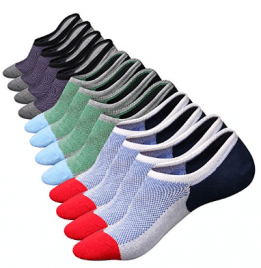 M&Z Mens Cotton Low Cut No Show Casual Crew Ankle Non-Slide Socks - Men's Ankle Socks