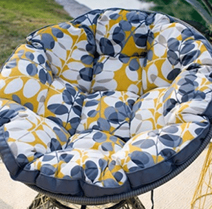 Kambree Outdoor Papasan Chair with Reversible Cushion Made w/ Resin Wicker, Papasan Chair Cushions