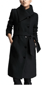 Lingswallow Women's Winter Thicken Long Wool Trench Coat Jacket With Belt