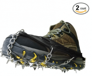 BINGUO 12 Teeth Anti-Slip Traction Cleats Grips Crampon for Snow and Ice Safe Protect Shoes Boots, Ice Traction Cleats