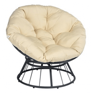 Deluxe 360 Swivel Papasan Chair with Soft Cushion, Outdoor Patio Swivel Glider Rocking Lounge Papasan Chair Cushions