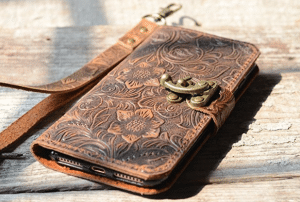 handmade Genuine leather wallet case fit