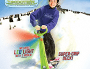GeoSpace Original LED Ski Skooter: Fold-up Snowboard Kick-Scooter for Use on Snow and Grass