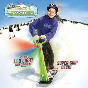 Snow Scooters, GeoSpace Original LED Ski Skooter: Fold-up Snowboard Kick-Scooter for Use on Snow and Grass