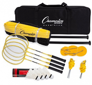Champion Sports Outdoor Badminton Set: Net, Poles, 4 Rackets