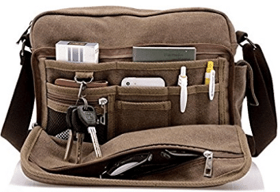 Harwish Men's Multifunctional Canvas Messenger Handbag Outdoor Sports
