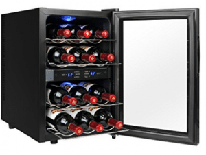 AKDY 12 Bottles Dual Zone Reversible Freestanding Thermoelectric Wine Cooler Cleear