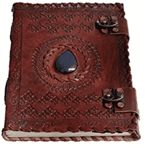 "Handmade Large 8"" Embossed Leather Journal Celtic two latches blue stone blank personal Diary notebook refillable journal gift"