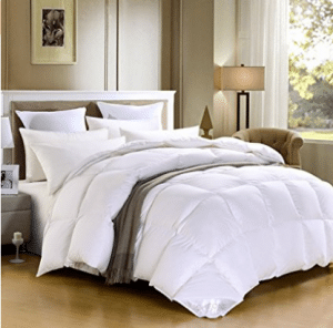 Cotton Comforters, SHEONE Lightweight White Goose Down Comforter-600 Fill Power-100% Cotton