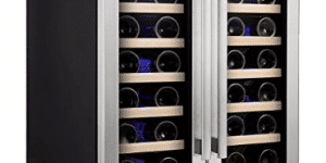 Kalamera 24'' Wine refrigerator 40 Bottle Dual Zone Built-in and Freestanding with Stainless Steel and Glass French