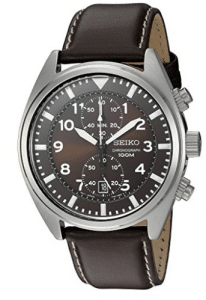 Seiko Men's Brown Dial Brown Leather Strap Chronograph Watch