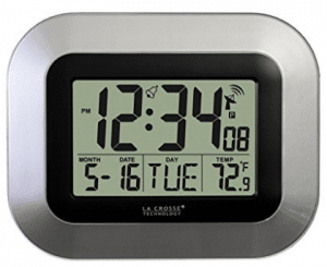 La Crosse Technology WT-8005U-S Atomic Digital Wall Clock with Indoor Temperature