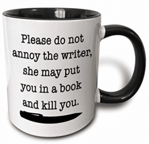 3dRose Please Do Not Annoy The Writer Black - Two Tone Black Mug
