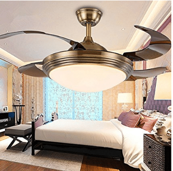 Huston Fan,Modern Style Invisible Ceiling Fans Light with 4 Blades